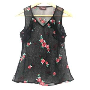 Lineas Black Mesh Floral Embroidered Top